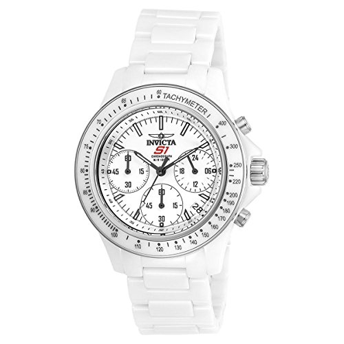 Invicta Women's 'S1 Rally' Quartz Ceramic Casual Watch, Color:White (Model: 22422)