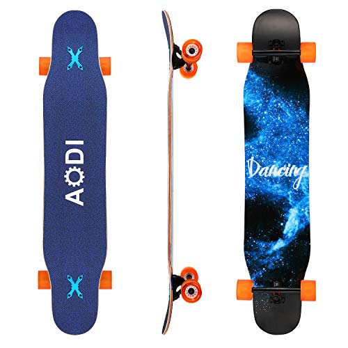 """AODI 46"""" Longboard Skateboard Complete Canadian Maple Wood Double Kick Concave Maple Skateboard with LED PU Wheels for Boys Girls Beginners Adults"""