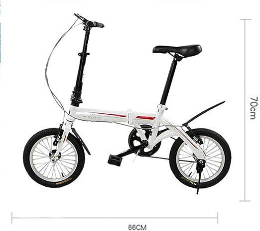 DPGPLP Bicicleta Plegable Coche Plegable 14 Pulgadas V Velocidad ...
