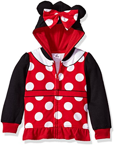 Disney Girls' Toddler Minnie Mouse Costume Zip-up Hoodie, Black/red, 5T