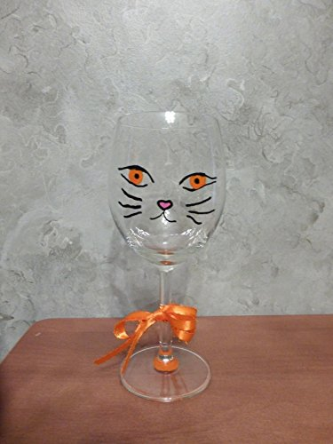 Hand Painted Cat Kitten Face Wine Glass Orange Available In The