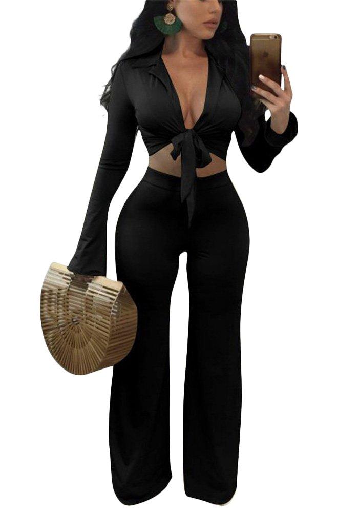 Metup 2 Piece Blazer Suit Set for Women Front Tie Crop Top with Wide Leg Palazzo Long Pants Black XL