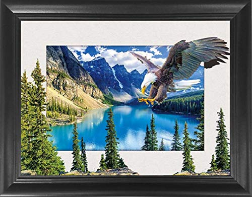 Mountain Eagle Wall Art Framed 5D / 3D Poster - Beautiful Lake Forrest Nature Landscape Wilderness Scenery - 3D Lenticular Posters - 14.5x18.5 - 3D Print, Cool Unique Modern Dcor, Optical Illusion