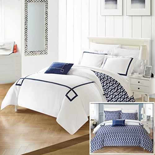 Perfect Home 8 Piece Reilly Contemporary REVERSIBLE Queen Bed In a Bag Duvet Set Navy With sheet set -