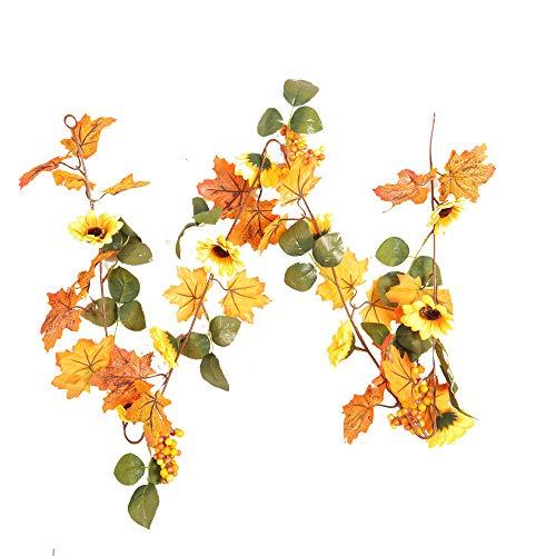iuuhome 1.8M LED Lighted Fall Autumn Pumpkin Maple Leaves Garland Decor from iuuhome🌹🌹