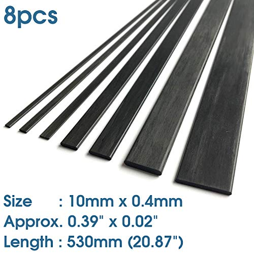 8(pcs) ABEST 0.4mm x 10mm x 530mm Length Carbon Fiber Strip Bar (Approx. 0.02