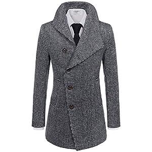 NEARKIN (NKNKUC7061) Upturned Collar Unbalanced Wool Blend Checker Slim Fit Pea Coat WHITEBLACK US XXXL(Tag size 3XL)