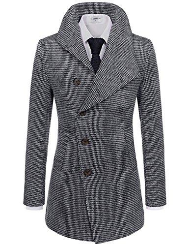 NEARKIN (NKNKUC7061) Upturned Collar Unbalanced Wool Blend Checker Slim Fit Pea Coat WHITEBLACK US L(Tag size (Style Slim Fit Wool)