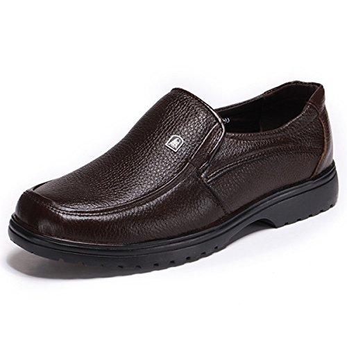 GRRONG Zapatos De Cuero De Los Hombres Del Ocio Del Cuero Genuino De Negocio Brown