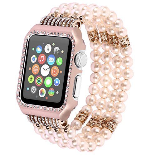 for Apple Watch Band 38mm with Glittering Rhinestone Rose Gold Protective Metal Case,Fashion Handmade Beaded Elastic Faux Pearl Bracelet Replacement Wristband Strap iWatch Series -