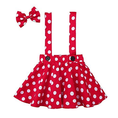 CHICTRY Little Girls Polka Dot X-Back Suspenders Skirt with Hair Bow Holiday 2 Pieces Outfit Set Red 18-24 -