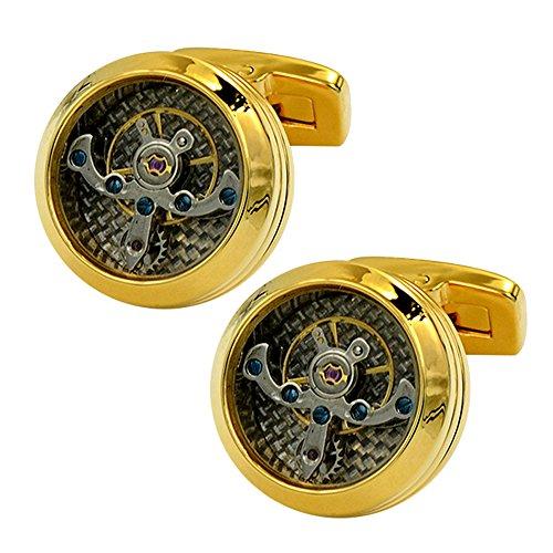Amytong Top end Men's cool exquisite Mechanical watch movements gold cufflinks, unique elegant whale back cufflink ()