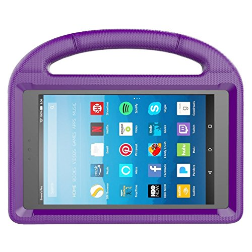 Kids Case for Kindle Fire HD 8 2017, MENZO Light Weight Shockproof Silicone Handle Stand Kids Friendly Case for Fire HD 8 inch (2017 released), Purple