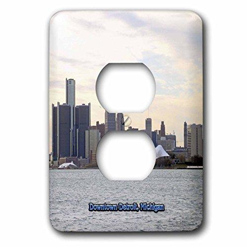3dRose lsp_57008_6 Downtown Detroit, Michigan 2 Plug Outlet - Outlets Michigan