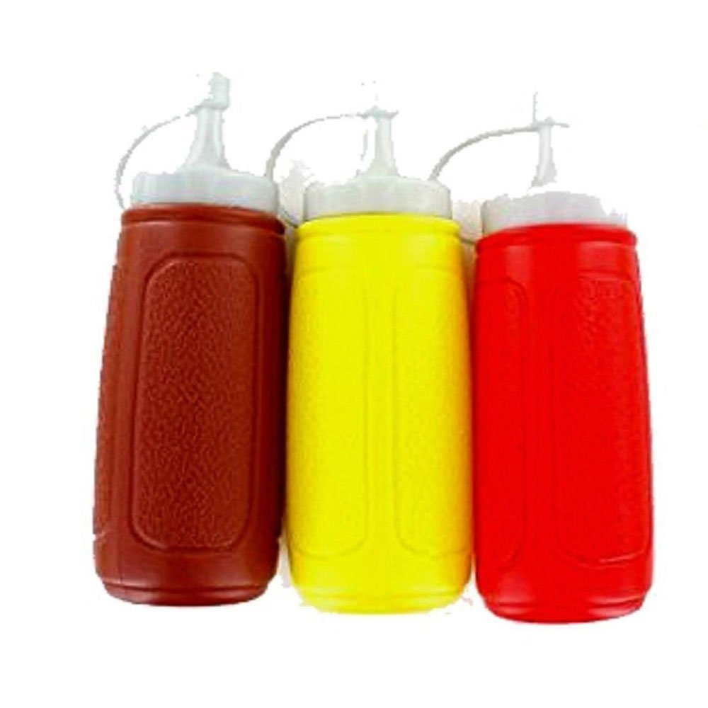 3 x Top Quality Plastic Squeezy Sauce Bottle Dispenser with Tip Lid 500ml firstdeal