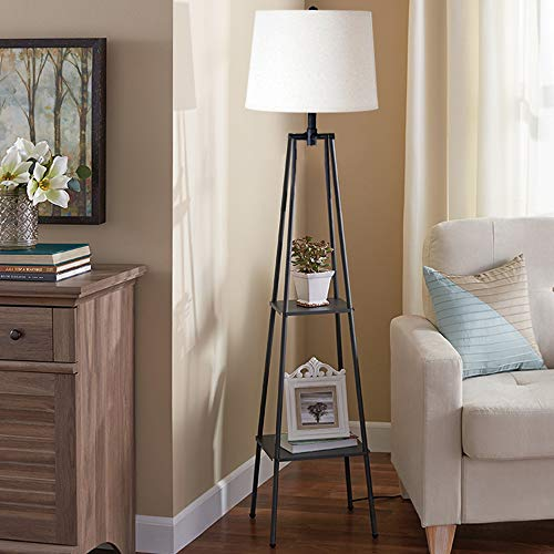Catalina Lighting 21405-000 Transitional Distressed Iron Metal Etagere Floor Lamp with Shelves, Ivory Beige Linen Shade and 3-Way Switch, 58'', New Black by Catalina Lighting (Image #4)