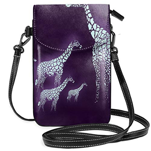 Laoyaotequ Giraffe Family Leather Cell Phone Purse Holder Wallet Functional Multi Pocket for Women