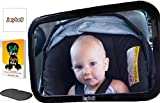 Baby Car Mirror for Back Seat - Strong Clamp Attachment New for 2018 - View Infant in Rear Facing Car Seat – Safest Design – Crash Tested – With Sunshade - Babyproofing eBook and Cleaning Cloth
