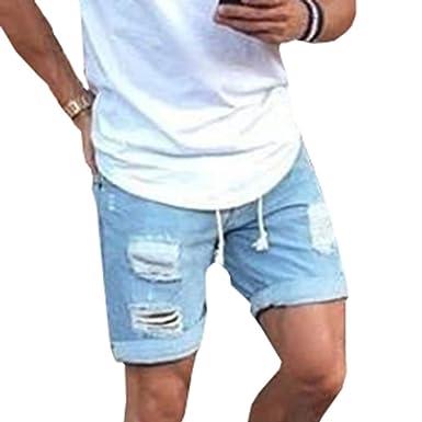 Pantalón Corto para Hombre Elástico Slim Vaqueros Rasgado ...