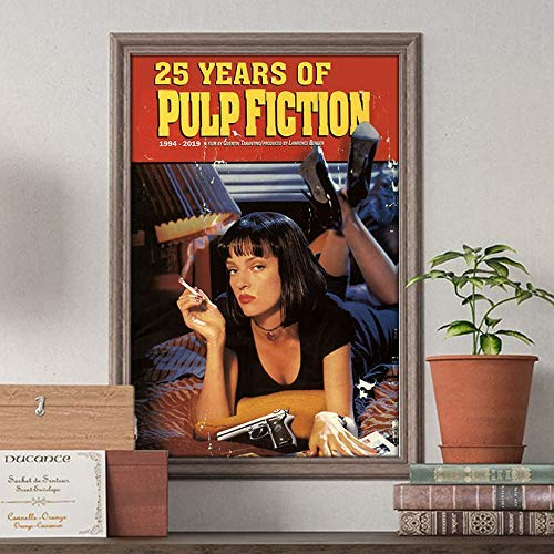 25 years of -Pulp- Poster Vintage Mia Wallace Poster 25th Anniversary -Fiction- Customized Handmade Poster Size Width(W) x Height(H) 12
