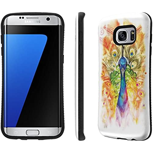 Galaxy S7 Edge / GS7 Edge Case, [NakedShield] [Black Bumper] Heavy Duty Shock Proof Armor Art Phone Case - [Peacock Sales