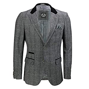 Mens Grey Herringbone Check 3 Piece Suit Sold Separate Blazer Trouser Waistcoat