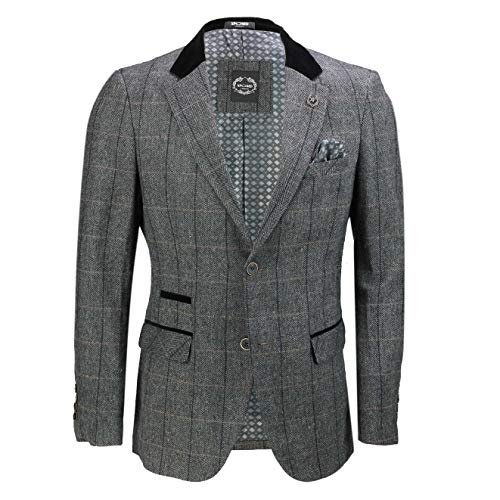 Xposed Mens Vintage Tweed Herringbone Check Blazer in Oak Brown Grey with Velvet Collar Elbow Patch [Charcoal Grey,Chest…