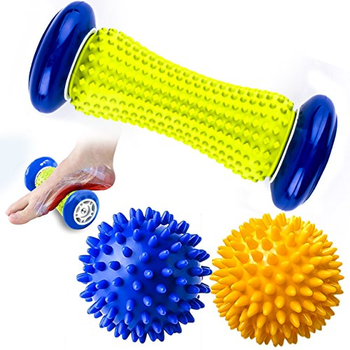 Earea Foot Roller Massage Ball, Foot Roller for Relief Plantar Fasciitis and Heel Foot Arch Pain, Spiky Massage Ball for Shoulder Back Hand Leg Foot Relaxion, Included 1 Foot Roller & 2 Spiky Balls - Hand Foot Massage
