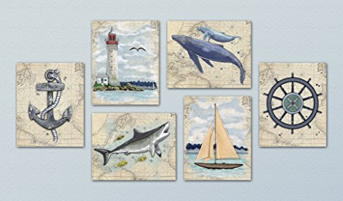 Little Pig Studios Out At Sea - Ocean/Nautical Themed Wall Art Print Collection ((6) Set of Six, 8