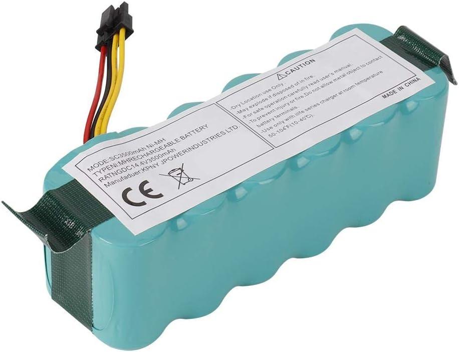 Alta tasa de Capacidad Completa de Descarga de Calidad 14.4V 3500MAH NI-MH Reemplazo de bater/ía Apto para Ecovacs CR120 CR121 Deebot CR540 Espejo