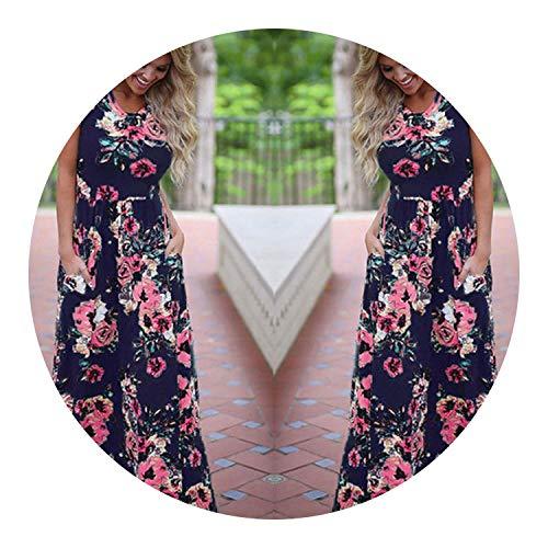 Women Summer Floral Print Long Maxi Dress,Deep Blue,XL