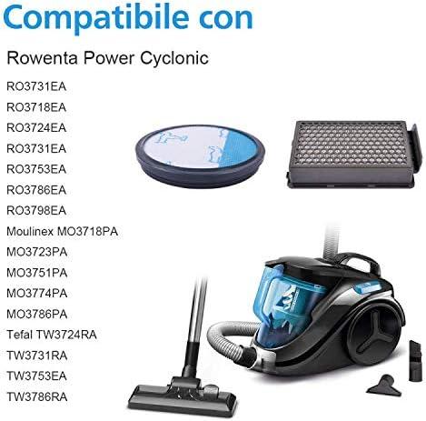 RO3731EA compara ZR005901 Filtros HEPA para serie Cyclonic Power Rowenta RO3753EA Funnytime RO3786EA//Moulinex//Tefal Compact 2 kits