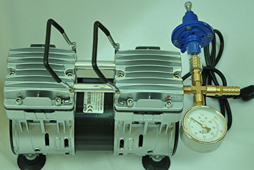 Controlled Twin Piston Oil-less Vacuum Pump 5.5CFM 3/4HP Regulator/Gauge Hardware Kit Pressure Control Oil-Free Clean No Oil Mist