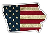 3 Pack - Iowa State Shaped US Flag American Flag Vinyl Bumper Sticker Decal