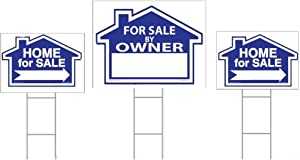 "Sam's Signs for Sale by Owner Sign Kit - 3 Double Sided Signs and 3 Heavy Duty H-Stakes - Blue Property Signs 18"" X 24"" and 12"" X 18"" - Directional Arrows - FSBO Lawn Sign - Premium Real Estate Signs"