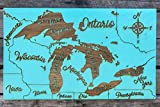 The Great Lakes - Whimsical wood engraved map