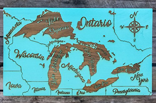The Great Lakes - Whimsical wood engraved map by Fire & Pine