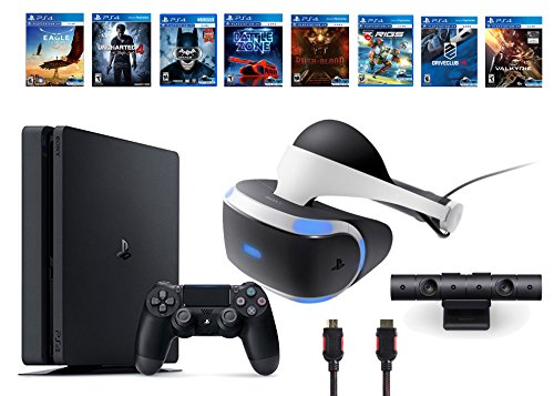 PlayStation-VR-Bundle-10-ItemsVR-HeadsetPlaystation-CameraPS4-Slim-Uncharted-47-VR-Game-Disc-Until-DawnRush-of-Blood-EVEValkyrieBattlezoneBatmanArkham-VR-DriveClub