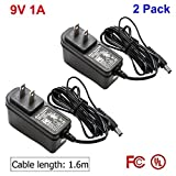 9 vac adapter - [2-Pack] 9V 1A Power Adapter for Arduino[UL/FCC Certified],AC DC 9V 1A 1000mAh 100V-240V Converter Adapter Power Supply 5.5/2.1mm Plug US; 160CM Cable