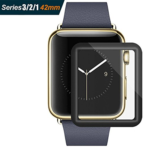 For Apple Watch Screen Protector 42mm, For iWatch Tempered Glass Screen Protector, Anti-Scratch Scratch Resistant Full Coverage Scratch-proof Screen Film for Apple iWatch 42mm Series 1/2/3 [Black]