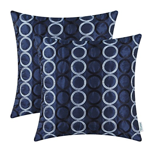 (CaliTime Pack of 2 Faux Silk Throw Pillow Covers Cases for Couch Sofa Home Decor Two-Tone Circles Rings Geometric Chain Embroidered 18 X 18 Inches Navy Blue)