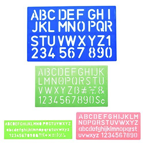 BCP 4pcs Assorted Colors Plastic Letter and Alphabet Stencil Sets Drawing Drafting Template Oic Letter