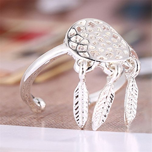 Eternity Rolling Ring (Botrong Fashion Feather Charm Dream Catcher Wish Ring (Silver))