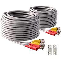 IHOMEGUARD 2 PACK Pre-made All-in-One 60 Ft BNC Video and Power Cable Wire Cord with Female Connector Gray Coaxial Cable Extension Wire Cord for DVR CCTV Security Camera Surveillance System