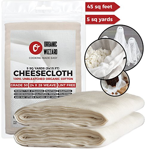 Cheesecloth - Organic Unbleached Cotton Fabric - Grade 50 Ultra Fine Mesh. 45 Sq Feet (5 yards) of 100% Natural, Washable and Reusable Food (Fabric Halloween Treat Bag)