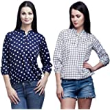 Mallory Winston Casual 3/4 Sleeve Navy Polka Dots and Checkered Balloon Women's Top