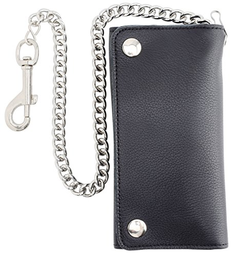 (RFID Blocking Men's Tri-fold Vintage Long Style Cowhide Top Grain Leather Steel Chain card holder Wallet,Snap closure, Made In USA,tc339-black…)