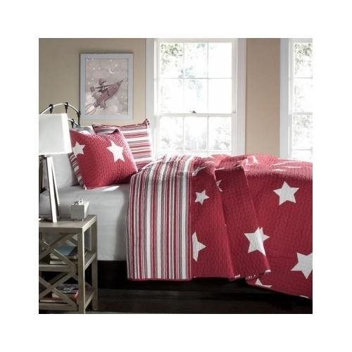 Full/queen Teen Girls Kids Reversible Red White Stars and Stripes Quilt Bedding Set with Shams Includes Scented Candle Tarts by L Decor (Image #3)'