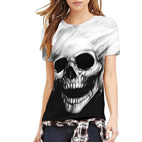 WUAI Men's 3D Skull Printing Fashion Slim Casual Short Sleeve T-Shirt Tops (US Size L = Tag XL, - T-shirt Fitted Anniversary