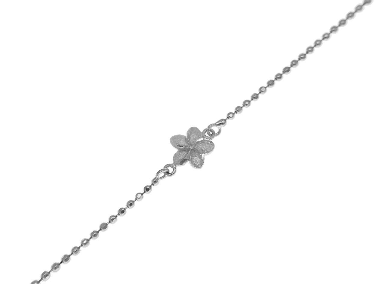 14k solid white gold 2 sided Hawaiian plumeria diamond cut bead chain anklet 10'' by Arthur's Jewelry (Image #3)